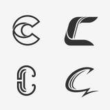 Комплект знака c письма, логотипа, элементов шаблона дизайна значка иллюстрация штока