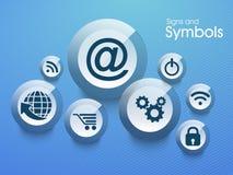 Комплект знаков и символов сети Стоковая Фотография