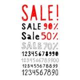 Комплект знаков и ярлыков продажи и комплекта номеров Стоковые Изображения RF