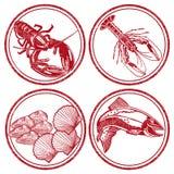 Комплект знаков морепродуктов Стоковая Фотография