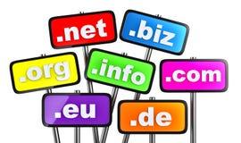Комплект знаков с доменами как кнопки Стоковые Фото