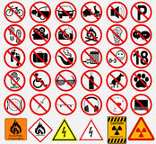 Комплект знаков для различной запрещенной деятельности иллюстрация вектора