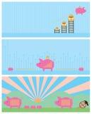Комплект знамени банка денег Стоковые Изображения