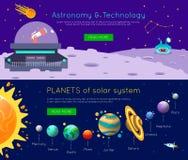 Комплект знамени вселенной космоса иллюстрация вектора