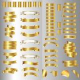 Комплект знамени ленты золотистые тесемки также вектор иллюстрации притяжки corel Стоковые Изображения RF
