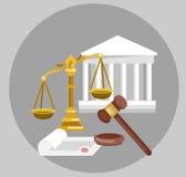 Комплект знамени закона горизонтальный с элементами судебной системы изолировал иллюстрацию вектора Стоковое Изображение