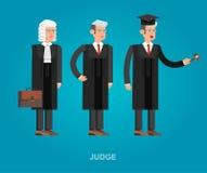 Комплект знамени закона горизонтальный с элементами судебной системы изолировал иллюстрацию вектора Стоковые Фото