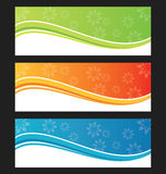 Комплект знамени или заголовка предпосылки волны Стоковые Фотографии RF