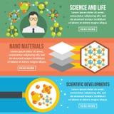 Комплект знамени науки молекулы горизонтальный, плоский стиль иллюстрация штока