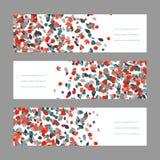 Комплект знамени осени Красные и голубые кленовые листы Стоковые Фото