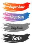Комплект знамени продажи Ход щетки также вектор иллюстрации притяжки corel На белой предпосылке Стоковые Изображения RF