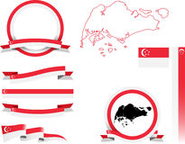 Комплект знамени Сингапура Стоковое Изображение