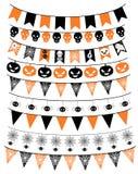 Комплект знамени хеллоуина Овсянка и флаги хеллоуина тематические Иллюстрация вектора