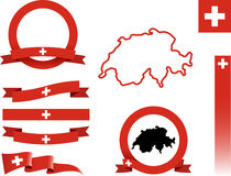 Комплект знамени Швейцарии Стоковые Изображения RF