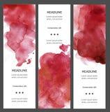 Комплект знамен акварели вертикальных с помаркой, падением, изолированным на белой предпосылке текст образца ладоней цветка круга бесплатная иллюстрация