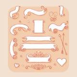 Комплект знамен и лент Элемент дизайна для wedding Стоковое Изображение