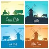 Комплект знамен молока Натуральный продучт молока Сельский ландшафт с мельницей и коровами Рассвет в деревне Восход солнца Стоковые Фотографии RF