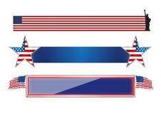 Комплект знамен 4-ое июля изолированных США Стоковое Изображение