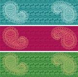 Комплект знамен Пейсли восточной картины хны горизонтальных Стоковое фото RF