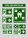 Комплект знамен пожарного выхода аварийного выхода, аварийного выхода, сборочного пункта огня, выхода опорожнения для пожарной ле Стоковое фото RF