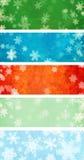 Комплект знамен рождества grunge с снежинками иллюстрация вектора
