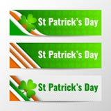 Комплект знамен современного вектора горизонтальных, заголовков страницы с текстом на день St. Patrick также вектор иллюстрации п Стоковая Фотография