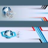 Комплект знамен сделанных от состава с глобусом земли, шестиугольника 3 размеров, шестерни Стоковые Изображения