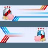 Комплект знамен с копилкой, креном денег и экраном безопасностью Стоковые Фотографии RF