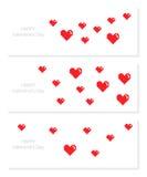 Комплект знамен с сердцами пиксела Стоковые Фото