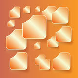 Комплект знамен с тенями на оранжевом backgroun Стоковые Фото