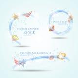 Комплект 3 знамен с seashells Иллюстрация вектора свежей Стоковая Фотография