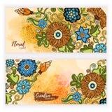 Комплект знамен шаблона вектора с предпосылкой конспекта краски акварели и doodle вручают вычерченные цветки Стоковое Изображение