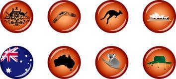 Комплект значка Австралии лоснистый Стоковая Фотография