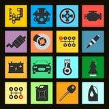 Комплект значка автомобиля обслуживания плоского на черной предпосылке Illustra вектора Стоковое Изображение RF