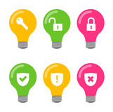Комплект значка лампочки бесплатная иллюстрация