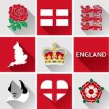 Комплект значка Англии плоский Стоковые Изображения RF