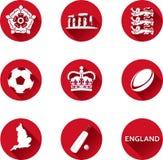 Комплект значка Англии плоский Стоковая Фотография RF