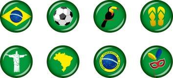 Комплект значка Бразилии лоснистый Стоковое фото RF