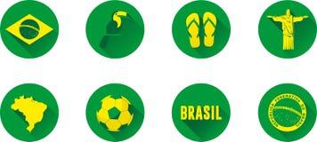 Комплект значка Бразилии плоский Стоковые Фотографии RF