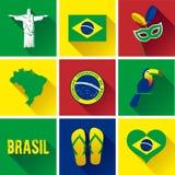 Комплект значка Бразилии плоский Стоковая Фотография