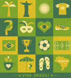 Комплект значка Бразилии Стоковое Фото