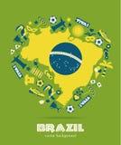 Комплект значка Бразилии Стоковое Изображение