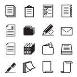 Комплект значка бумаги & канцелярских принадлежностей иллюстрация вектора