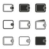 Комплект значка бумажника Стоковая Фотография
