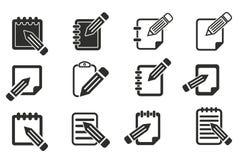 Комплект значка блокнота Стоковые Фотографии RF