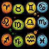 Комплект значка вектора астрологический Стоковое Фото
