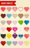Комплект значка вектора влюбленности 30 сердец Стоковая Фотография