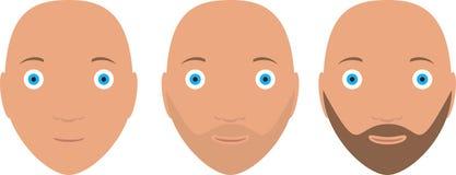 Комплект значка вектора головы 3 человек в бороде этапов Стоковые Изображения RF