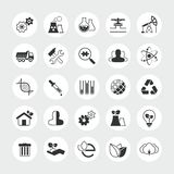 Комплект значка вектора индустрии и экологичности полный Стоковое Фото