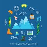 Комплект значка вектора каникул зимы плоский Стоковое Фото